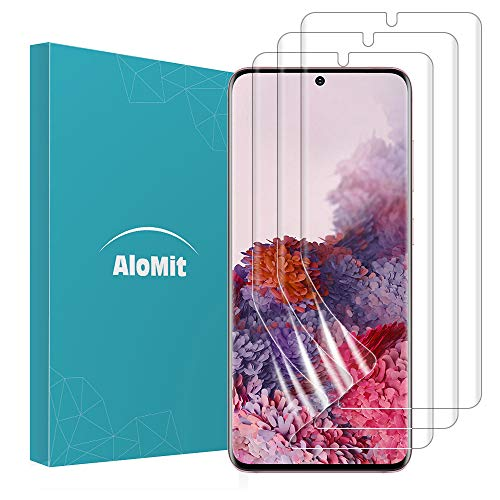 AloMit Screen Protector for Galaxy S20 5G,S20 [3-Pack, 6.2-Inch ] Fingerprints Sensor Support Case Friendly Bubble Free HD Clear Flexible TPU Film for Samsung Galaxy S20