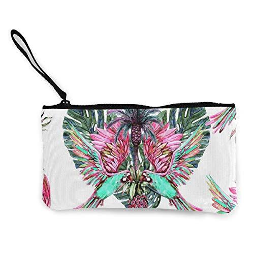 Hdadwy Acuarela Loros Piñas Selva Hojas Corazón Lona Cremallera Monedero, Personalizado Lady s Make up Bag, Handbag, Suitcase Women s Accesorios