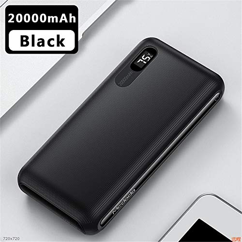 Banco De La Energía 20000mAh Pantalla LED De Carga Rápida Powerbank 10000mAh Batería Externa For El IPhone Xiaomi 7 PoverBank Portátil (Color : 20000mAh Black)