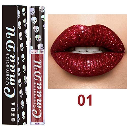 Allbesta 8 Farben Diamond Glitter Shimmer Lip Gloss Skull Liquid Lippenstift Metallic Matte Glossy Langlebig Make-up