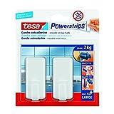 Ganchos adhesivos grandes tesa Powerstrips (2+ 4 tiras adhesivas), color blanco