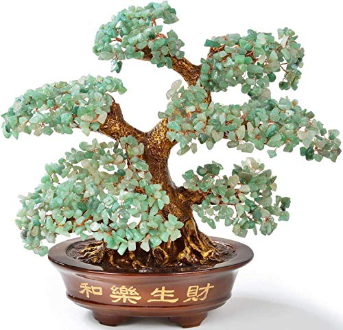 KALIFANO Natural Aventurine (1,251 Gemstone Count) Chakra Crystal Tree with Healing Properties -Bonsai Feng Shui Money Tree for Luck and Intelligence