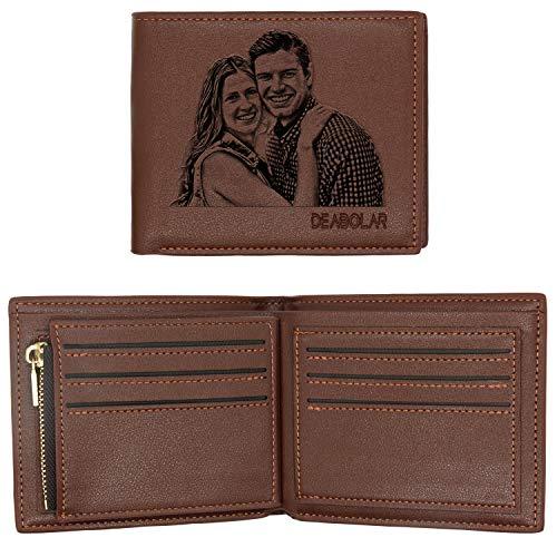 ABIsedrin Billetera Personalizada Para Los Hombres Carteras de Fotos Personalizadas Plegable Cuero Billetera Regalo para Papá, Billetera horizontal