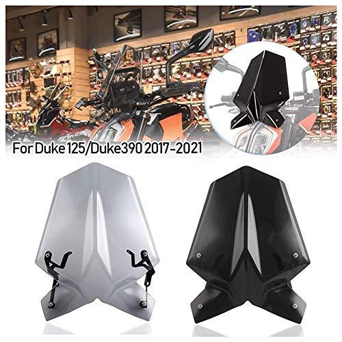 Moto Double Bulle Pare-Vent Pare-brise Déflecteurs D'écran Protecteur De Moustiquaire avec Support pour K-T-M pour Du-ke 125 390 Du-ke125 Du-ke390 2017 2018 2019 2020 2021(Fumée légère)