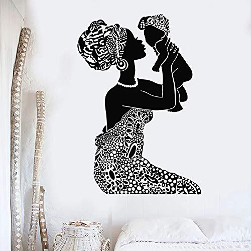 mlpnko Wandtattoo Native African Mother mit Baby Vinyl Fenster Aufkleber Baby Nursery Home Decoration,CJX12718-55x79cm