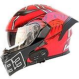 Motorcycle Bluetooth Helmets, Modular flip-Type Bluetooth Moped Helmets, DOT Certified Helmets, Music, Answer Calls, Adult Men and Women 4,L=59-60CM