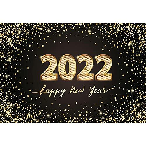 Leowefowa 3x2m Vinilo Feliz año Nuevo Telon de Fondo Brillante 2022 Telón de Fondo Oro Negro Lentejuelas Brillantes para Fotografia Fiesta Víspera de año Nuevo Photo Studio Props Booth