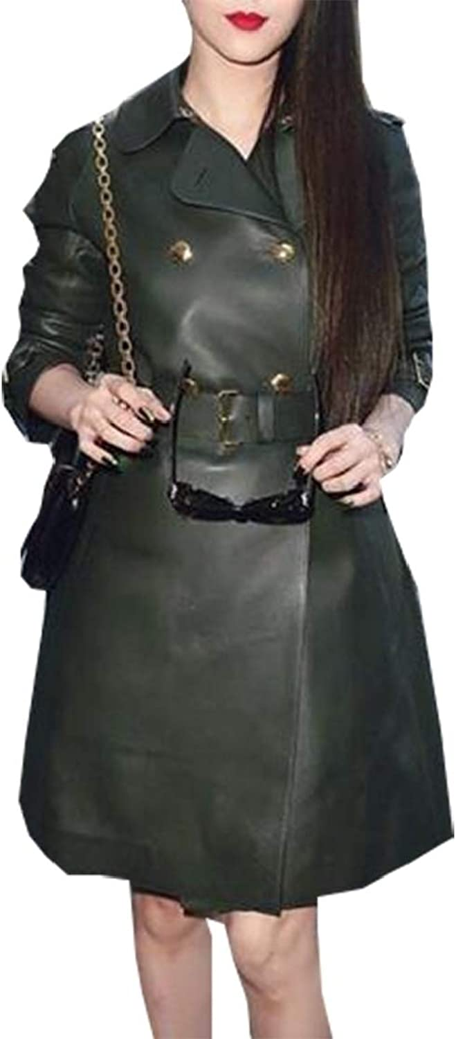 Esast Women's Casual Trench Coat Overcoat Double Breasted Faux Leather Jacket