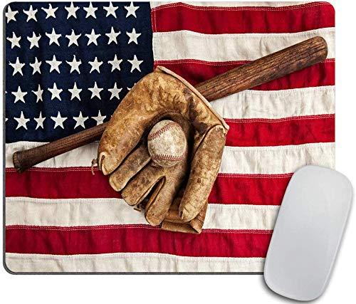 Weinlese-Baseballschläger Mausunterlage, Handschuh und Ball auf einem rutschfesten Gummimousepad 25X30 cm des Weinlese-Flagge-Rechteck-