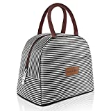 DANIA & DEAN Durable Insulated Lunch Bag for Women/Kids Double Zippers Wide Open Tote Bag Leakproof Thermal and Cooler Reusable Lunch Box for Office/School/Outdoor (Black and White Stripes)