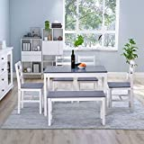 Pine Wood Dining Table and Chairs Set of 4 with 1 Bench Solid Wooden Kitchen Furniture, Home Furniture Set Dining Room Furniture Set, Grey