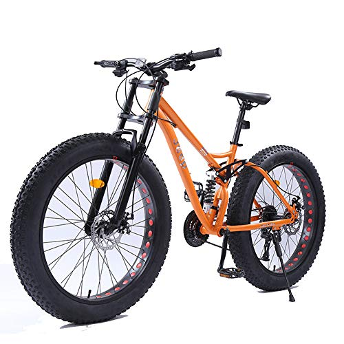 NENGGE 26 Zoll Frauen Mountainbikes, Scheibenbremsen Fettreifen Mountain Trail Bike, Hardtail Fahrrad, High-Carbon Stahlrahmen, MTB,Orange,21 Speed