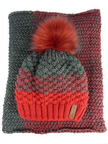 AMALTEA TEA 2 teiliges Damen Winterset Schal Mütze (rot dunkelrot bordeaux grau) Veilo 36.64 - ohne Handschuhe - mit großem Bommel