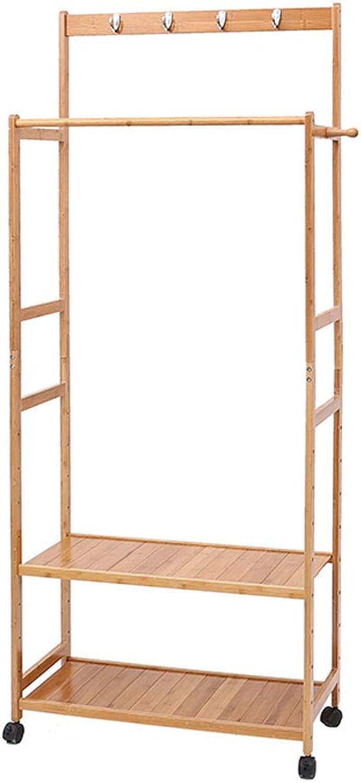 CIGONG-Coat rack Simple Modern Coat Rack Bedroom Double Pole Wooden Hanger Creative Cloakroom Double Floor Shaped Hanger 174x70x31cm