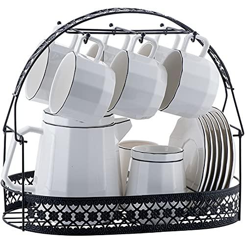 ErZhuiZi 16 Piezas Servicio de Juegos de Té de Porcelana con Tetera, Juego de 6 Tazas y Platillos de Café con Leche, con Sugar Bowl, Jarra de Leche y Soporte de Taza de Metal