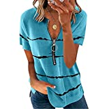 riou Camiseta Manga Corta para Mujer Verano Sexy T-Shirt 2021 Casual Blusa con Cremallera Shirt Cuello-V Camisa de rayas de color liso Elasticidad Transpirable Tops