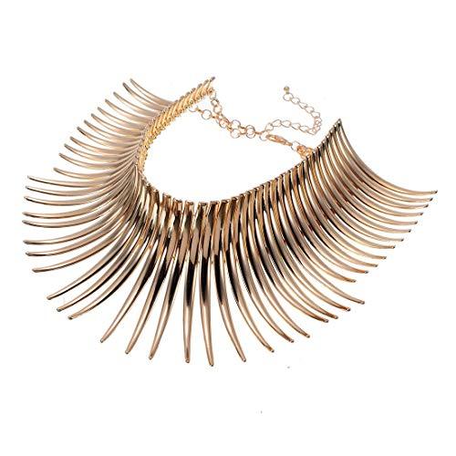 Statement Collar Choker Chuncky Bib Necklace(Set) Christmas Gift, African Sparkling Canine Shape Fringe Necklace(Set) for Women Fashion Jewelry(Set) for Girls