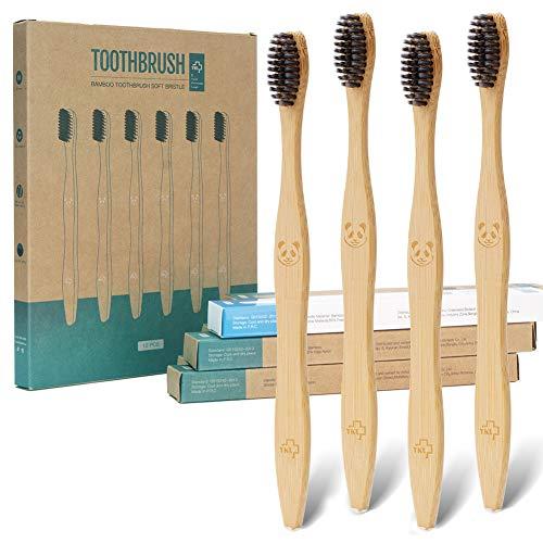 12 cepillos de dientes ecológicos de carbón de bambú natural | Cepillo de dientes de cerdas suaves biodegradables (paquete de 12)