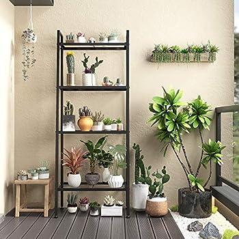 NATRKE 4 Tier Bookshelf Metal Ladder Shelf Freestanding Storage Shelves Storage Rack Shelf for Office Bathroom Living Room,Black