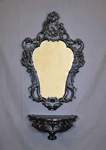 Idea Casa Completo Specchio + Mensola Consolle Nero Black Stile Barocco Luigi XVI Finto Vintage