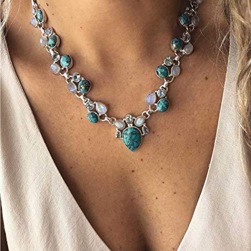 Forall Collar bohemio turquesa con ópalo de plata y cadena de cristal para mujeres y niñas