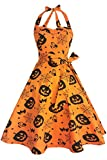 Topdress Women's Vintage Polka Audrey Dress 1950s Halter Retro Cocktail Dress Pumpkin 2XL