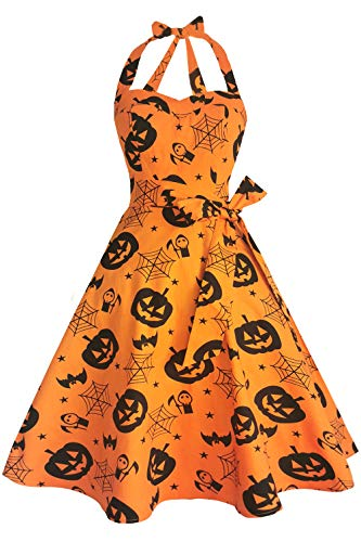 Topdress Women's Vintage Polka Audrey Dress 1950s Halter Retro Cocktail Dress Pumpkin 3XL