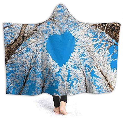 SUHETI Manta con Capucha,Un Cielo Azul Limpio con una Forma de Amor formada por Hojas Blancas,Suave Siesta ponible Mantas de Viaje/Vacaciones/Casual 80x60