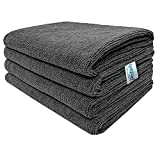 SOFTSPUN Microfiber Cloth 40x60 Cms, 4 Piece Towel Set, 340 GSM (Grey) Multi-Purpose Super Soft Absorbent Cleaning Towels for Home, Kitchen, Car, Cleans & Polishes Everything in Your Home.