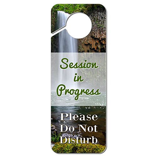 Graphics and More Session in Progress Please Do Not Disturb Plastic Door Knob Hanger Warning Room Sign - Single Waterfall