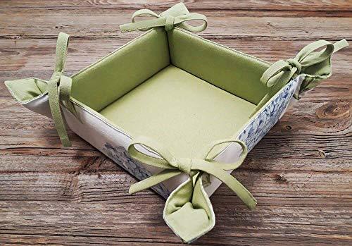 matches21 Brotkorb Stoff eckig zum Binden Landhaus Premium Stil LOTTE Hortensien Motivdruck & grün für Küche & Tisch 20x20 cm 1 STK
