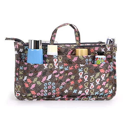 IGNPION bedruckter Handtaschen-Einsatz, Organizer mit 13 Taschen, erweiterbarer Beutel mit Reißverschluss, Einkaufstaschen-Organizer, Winckeltaschen-Einsatz mit Griff, hase (Mehrfarbig) - IGN239