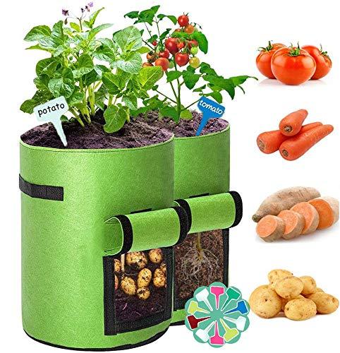 2 Stück Kartoffelsack, 7 Gallonen Pflanzsack Pflanzbeutel Pflanztopf mit Sichtfenster und Griffen, Atmungsaktive Pflanztaschen für Kartoffeln, Blumen, Pflanzen, Gemüse