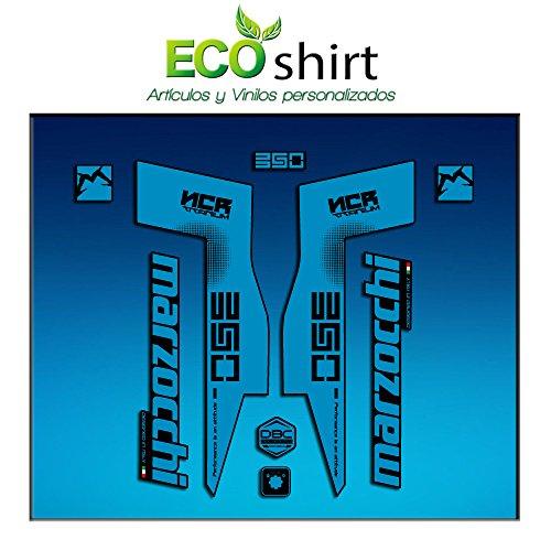 Ecoshirt R4-9OM9-ZMD7 Autocollants Fork Marzocchi 350 NCR Titanium Am76 Autocollants Fourche Gabel Fourche Fourche Bleu