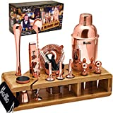 Copper 23-Piece Bartender Kit Cocktail Shaker Set by BARILLIO: Stainless Steel Rose Gold Bar Tools...