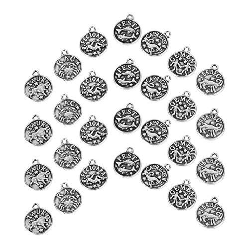 TEHAUX 60 Piezas de Dijes de Constelación Dijes de Signos de Zodiaco Dijes de Aleación de Doble Cara Colgantes para DIY Collar Pendientes de Pulsera Fabricación de Joyas