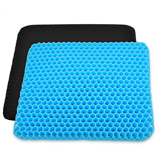 Seat Cushion with Non-slip Cover, Memory Double Gel Back Seat Cushion for Office Chair, Coccyx Seat Cushion and Lumbar Support Sciatica Pain Relief, Cushion Extra Large for Car, Wheelchair, Long Trips