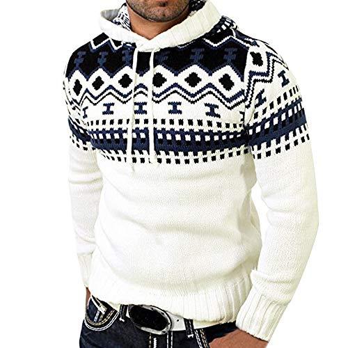 MERICAL Autunno Inverno Pullover Cardigan a Maglia Cappotto Incappucciato Maglione Outwear Maschile(Bianco,L)