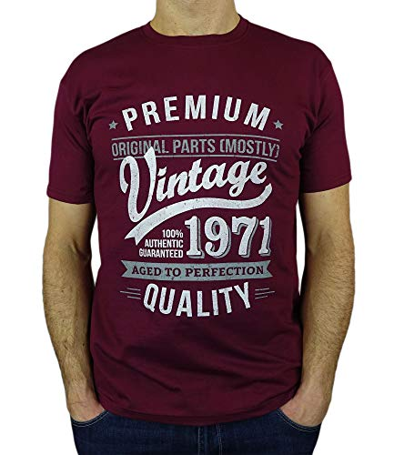 My Generation T-Shirts Vintage Year - Aged to Perfection - 50th Birthday Gift/Present Mens T-Shirt Burgundy M