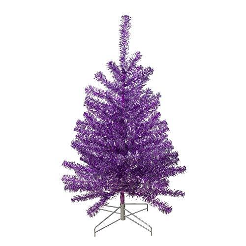 Northlight 3' Metallic Purple Tinsel Artificial Christmas Tree - Unlit