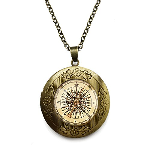Vintage Bronze Tone Locket Picture Pendant Necklace Compass Clock Included Free Brass Chain Gifts Personalized