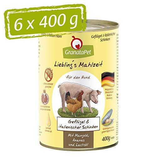Liebling's Essen Lot de 6 boîtes de pâtée Humide Volaille et Jambon Italien 6 x 400 g