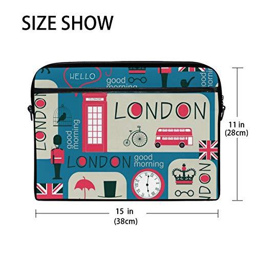 Linomo Laptoptasche mit UK-London-Symbol, Laptoptasche, Umhängetasche, Laptoptasche, Schultertasche für 33 cm (13 Zoll) 35,6 cm (14,5 Zoll) Laptop, für Damen, Herren, Büro, Kinder, Schule