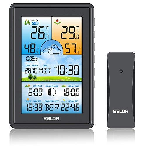 SH.RATE Wetterstation Funk mit Außensensor und Farbdisplay 150 Städte Sonnenaufgang und Sonnenuntergang Digital Thermometer-Hygrometer Berührungsempfindliche
