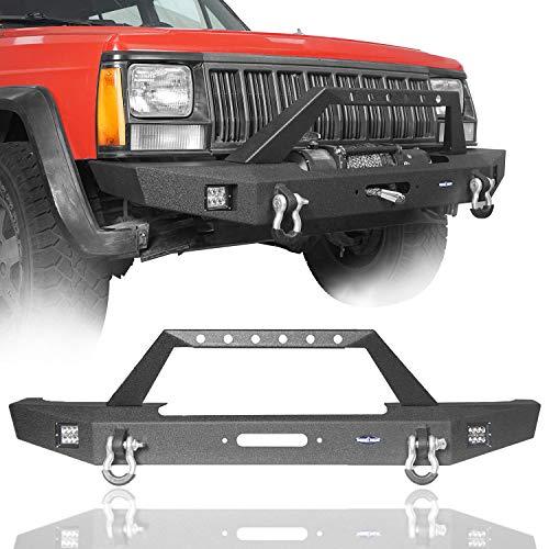 Full Width Front Bumper for Jeep Cherokee XJ 1984-2001 w 2 ×18W LED Spotlights & Winch Plate & 2 ×3 4   D-Rings