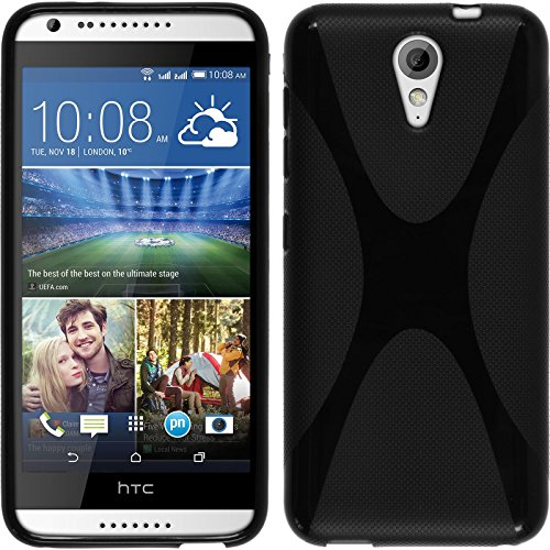 PhoneNatic Hülle kompatibel mit HTC Desire 620 - schwarz Silikon Hülle X-Style + 2 Schutzfolien