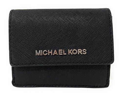Michael Kors Jet Travel PVC Signature Credit Card Case ID Key Holder Wallet in Black SILVER