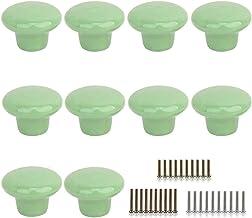 10 Stks Ronde Vorm Keramische Deurknop Dressoir Lade Locker Pull Handvatten Kast Knoppen met 3 Grootte Schroeven (Groen)