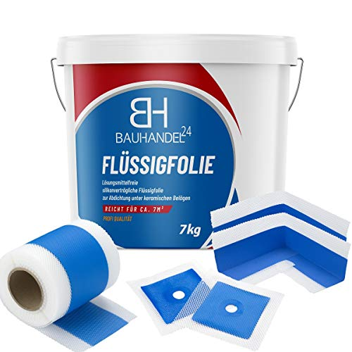 Bauhandel24 - Dichtset Flüssigfolie, Dichtband Innenecken, Manschetten zur Abdichtung Dusche Bad