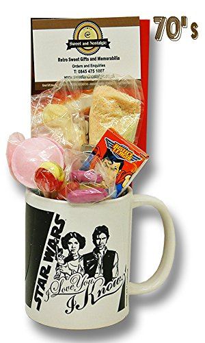 Star Wars Hans Solo and Princess Leia Mug Filled With 70s Sweets